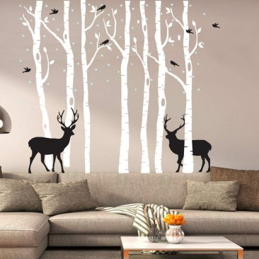 Large Tree and Deers Wall Art Decal