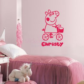 Custom Name Peppa Pig Wall Decal|Multiple Colours Available