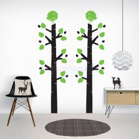 Large Tree Wall Decal|Birch Tree and Bird Wall Sticker|Multiple Colours Available