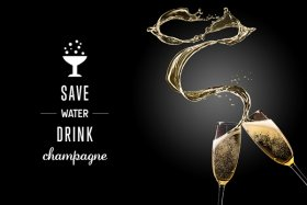 Save Water Drink Champagne Wall Decal