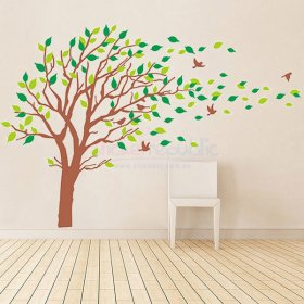 Large Spring Tree and Flying Birds Wall Decal